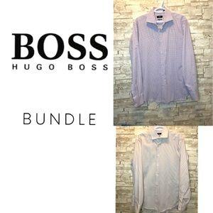 2 Hugo Boss Dress Shirts Regular Fit 42x 16 1/2